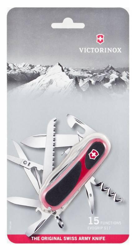 Нож перочинный Victorinox EvoGrip S17 (2.3913.SCB1) красно-черный блистер 15 функций пластик/стальШвейцарские армейские ножи Victorinox<br>Модель EvoGrip S17 Цвет корпуса красный/черный Размеры 85 ммНабор инструментов:1. Лезвие с системой блокировки2. Открывалка для консервных банок3. - с отверткой 3 мм4. Открывалка для бутылок5. Плоская отвёртка с системой блокировки6. Приспособление для зачистки проводов7. Пилка для ногтей8. - с инструментом для ухода за ногтями9. Шило10. Штопор11. Пила по дереву12. Ножницы с микроволнистой кромкой лезвий13. Пинцет14. Зубочистка15. Кольцо для ключей<br>