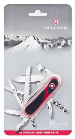 Нож перочинный Victorinox EvoGrip S17 (2.3913.SCB1) красно-черный блистер 15 функций пластик/сталь - Nozhikov.ru