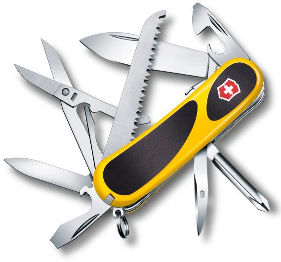 Нож перочинный Victorinox EvoGrip S18 2.4913.SC8 85мм 15 функций жёлто-чёрныйШвейцарские армейские ножи Victorinox<br>Модель EvoGrip S18 2.4913.SC8 Описание Он содержит в себе 15 инструментов: большое и малое лезвие, пилу по дереву, открывалку для консервов, мини отвёртку, открывалку для бутылок, кольцо для ключей и прочие. Такой подарок оценят деловые люди, идущие в ногу со временем. Цвет корпуса черный/желтый Размеры 85 мм<br>