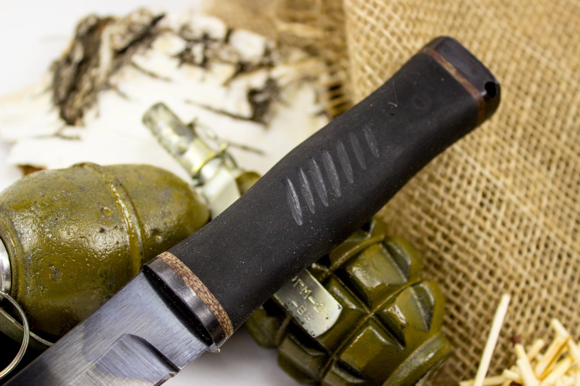 Нож Кабан-1М, сталь 65Г, резина