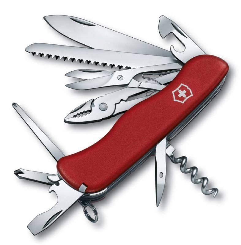 Нож перочинный Victorinox Hercules 0.9043 с фиксатором лезвия 18 функций красныйШвейцарские армейские ножи Victorinox<br>Карманный нож с фиксатором HERCULES – это многофункциональный инструмент с набором из 18 функций:<br>Большое фиксирующееся лезвие<br>Штопор<br>Консервный нож с:<br>– Малой отверткой<br>Открывалка для бутылок с:<br>– Отверткой<br>– Инструментом для снятия изоляции<br>Шило, кернер<br>Кольцо для ключей<br>Пинцет<br>Зубочистка<br>Пила по дереву<br>Плоскогубцы с:<br>– Кусачками для провода<br>– Инструментом для обжима провода<br>Длинная крестовая отвертка<br>Крестовая отвертка<br>Ножницы<br>Длина: 111 мм<br>