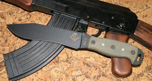Нож с фиксированным клинком Ontario NS-7 black micarta, фосфорные доты мачете ontario sp8