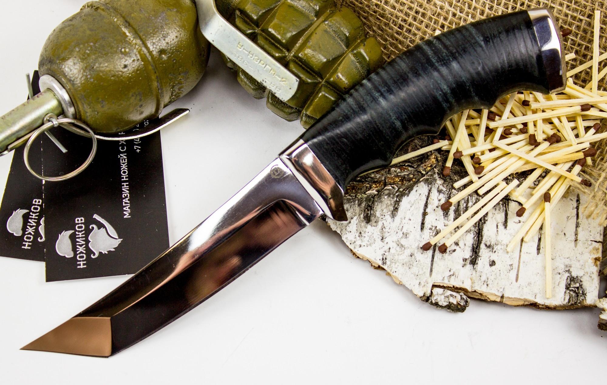 Нож Аркан, сталь 95х18, кожаНожи Ворсма<br>В очертаниях этого ножа видны напор и сила. Туристическийнож Аркан предназначен для использования в качестве основного полевого ножа. В этом ноже сочетаются клинок-танто и выгнутая рукоять восточного типа. Таким ножом удобно выполнять сильные колющие и рубящие удары. Для повышения безопасности работ, рукоять ножа оснащена подпальцевыми выемками и упором-ограничителем. Благодаря сквозному хвостовику, нож обладает высоким запасом прочности. Нож производит эффектное впечатление на любого, кто берет его в руки.<br>