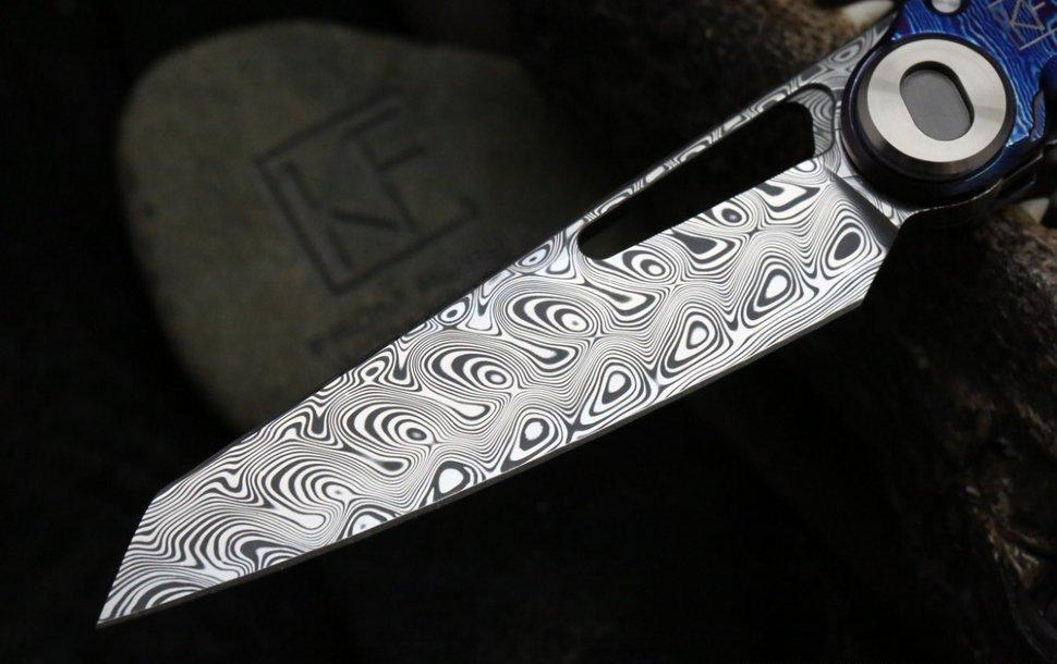 Фото 2 - Складной нож CKF Terra, дамасская сталь, рукоять Timaskus