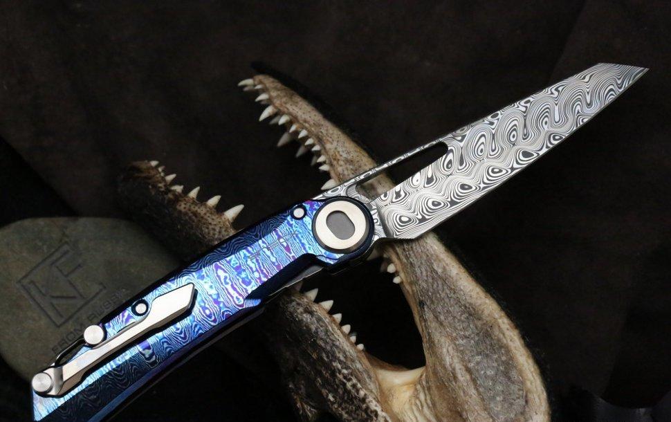 Фото 4 - Складной нож CKF Terra, дамасская сталь, рукоять Timaskus