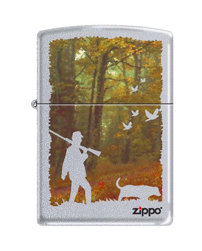 Фото - Зажигалка ZIPPO Осенняя охота, латунь/сталь с покрытием Satin Chrome, серебристая, 36x12x56 мм