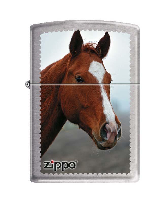 Фото - Зажигалка ZIPPO Рыжая лошадь, латунь с покрытием Brushed Chrome, серебристая, матовая, 36x12x56 мм