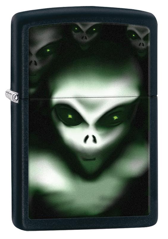 Зажигалка ZIPPO Classic НЛО, покрытие Black Matte керосиновая зажигалка zippo
