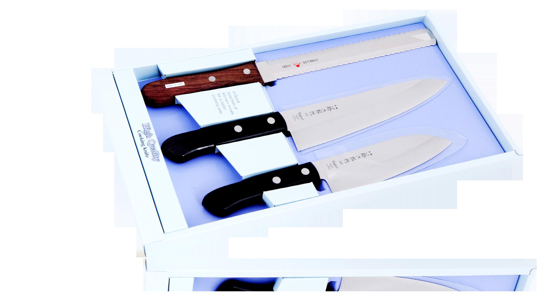Набор ножей FG-82Наборы кухонных ножей<br>Поварской, Сантоку, для замор. пищи и костей<br>