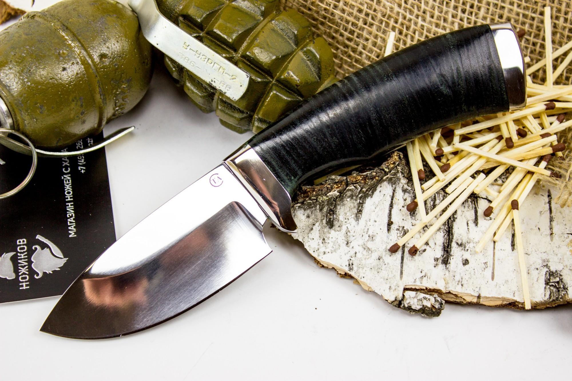 Нож Барсук-3, сталь 95х18, кожа титов и солдатова барсук 1