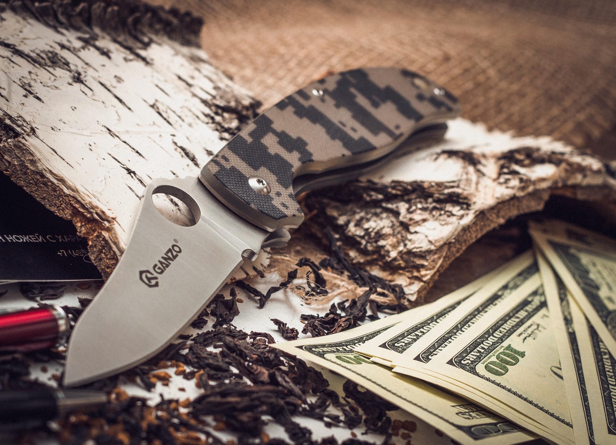Складной нож Ganzo G734, камуфляж