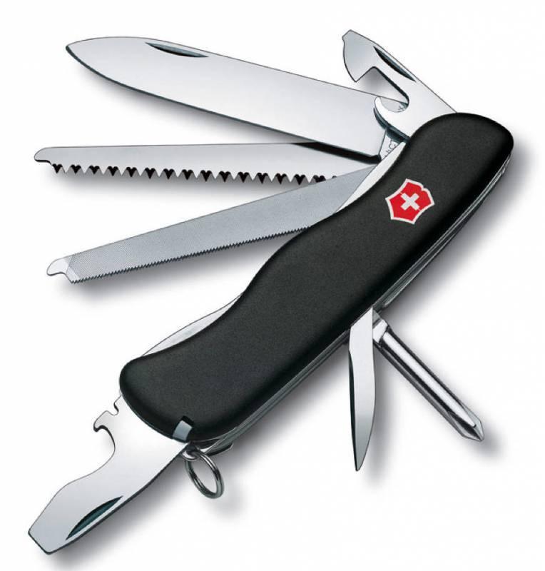 Нож перочинный Victorinox Locksmith 0.8493.3 с фиксатором лезвия 14 функций  черныйШвейцарские армейские ножи Victorinox<br>Нож для спецслужб с фиксатором Trailmaster - это многофункциональный инструмент с рукояткой из черного нейлона и с набором из 11 функций: Большое фиксирующееся лезвие Крестовидная отвертка Консервный нож с: - Малой отверткой Мощная фиксирующаяся отвертка с: - Открывалка для бутылок - Инструментом для снятия изоляции Шило, кернер Кольцо для ключей Пинцет Зубочистка Пила по дереву Длина: 111 мм Цвет: Черный<br>