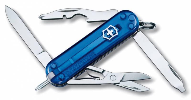 Нож перочинный Victorinox Manager Sapphire 0.6365.T2 58мм 10 функций полупрозрачный синийШвейцарские ножи Victorinox<br>Серия Знаменитая классическая коллекция, 58 мм<br><br>Нож - брелок MANAGER - это многофункциональный инструмент с набором из 10 функций: <br>Лезвие <br>Ножницы <br>Кольцо для ключей <br>Шариковая ручка <br>Зубочистка или пинцет <br>Пилка для ногтей с: <br>- Отверткой <br>Открывалка для бутылок с:<br>- Намагниченной крестовой отверткой<br>- Инструментом для снятия изоляции <br>Длина: 58 мм<br>