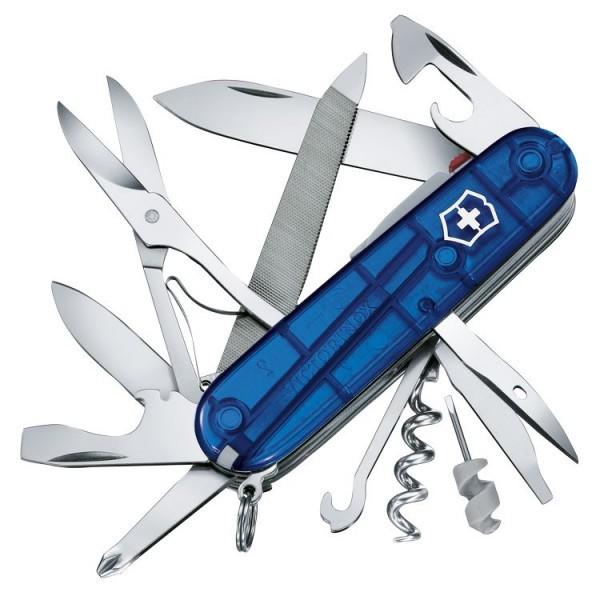 Нож перочинный Victorinox Mountaineer Lite 91мм полупрозрачный синийШвейцарские армейские ножи Victorinox<br>Настоящий офицерский нож Mountaineer Lite.<br><br>Двойное назначение: нож и фонарик.<br>Уникальный набор рекордного количества функций.<br>Классический дизайн Victorinox.<br>Стильная полированная нейлоновая рукоять.<br>