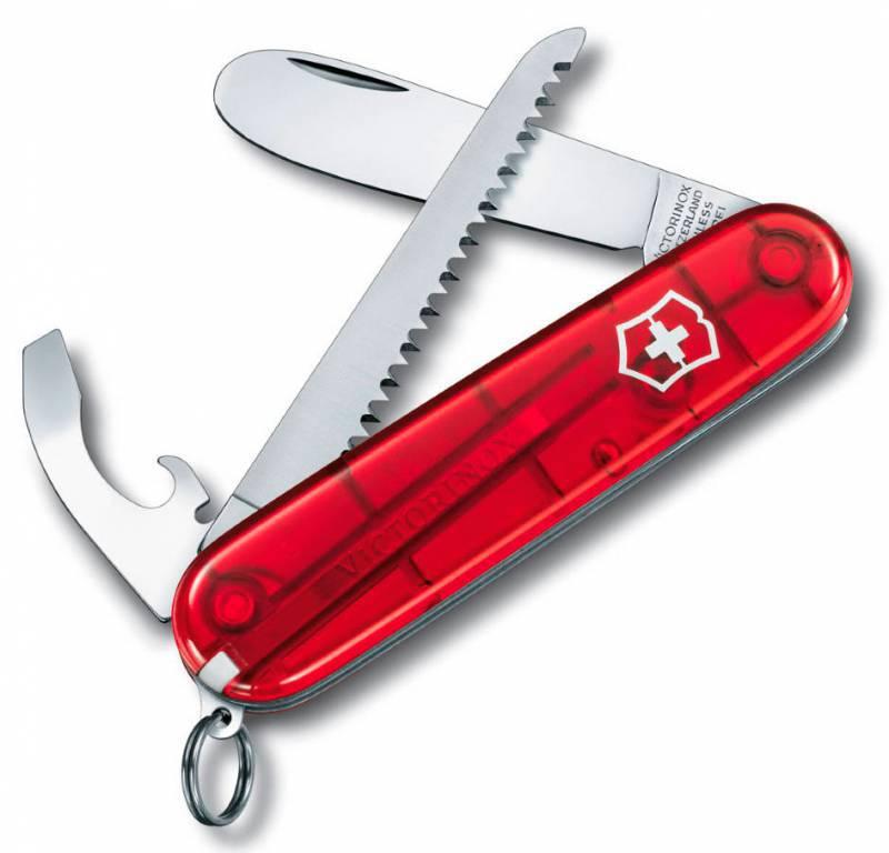 Нож перочинный Victorinox My First Victorinox 0.2373.T 84мм 9 функций полупрозрачный красныйШвейцарские армейские ножи Victorinox<br>Серия Швейцарские армейские ножи малого размера, 84 мм<br><br>Нож MY FIRST VICTORINOX - это многофункциональный инструмент с набором из 9 функций: <br>Лезвие с закругленным концом<br>Универсальный инструмент с<br>- Открывалкой для бутылок<br>- Консервным ножом<br>- Отверткой<br>- Инструментом для снятия изоляции<br>Пила по дереву<br>Кольцо для ключей <br>Пинцет <br>Зубочистка <br>Длина: 84 мм<br>Цвет: Полупрозрачный красный<br><br>В комплекте: <br>- Нож<br>- Цепочка (4.1815)<br>- Шнурок с карабином (4.1879)<br>- Подарочная упаковка<br>