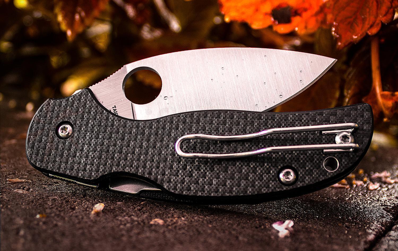 Фото 2 - Нож складной Sage® 5 Compression Lock Spyderco 123CFPCL, сталь Crucible CPM® S30V™ Satin Plain, рукоять карбон/стеклотекстолит G10, чёрный