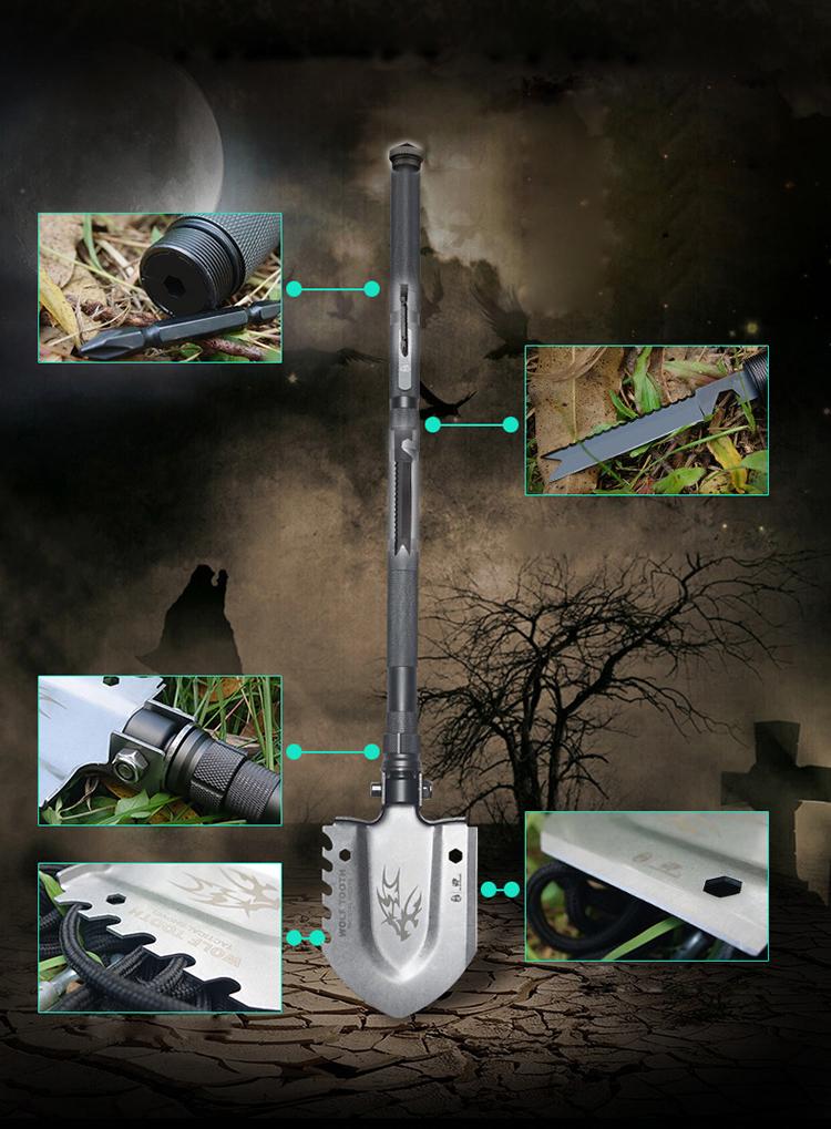 Фото 9 - Многофункциональная лопата для выживания HX Outdoor 19-в-1 от Noname