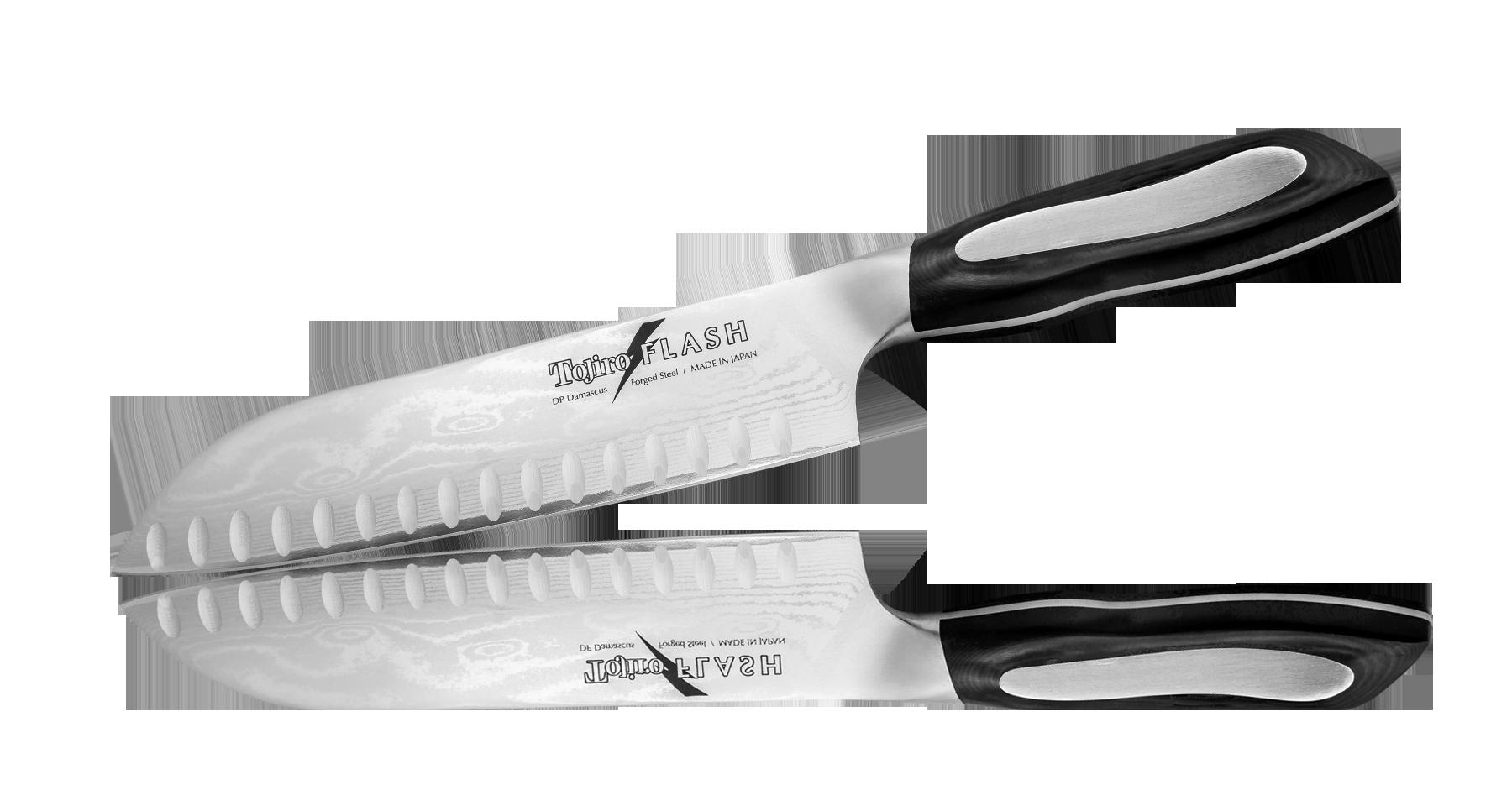Нож Сантоку Tojiro Flash 180 мм с насечками, сталь VG-10Ножи шефа (поварские ножи)<br>Нож Сантоку Tojiro Flash 180 мм с насечками, сталь VG-10<br>