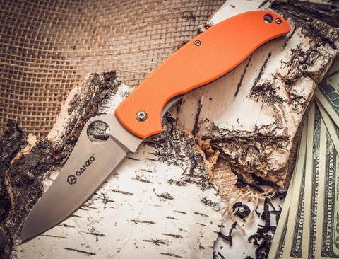 Складной нож Ganzo G734, оранжевый - Nozhikov.ru