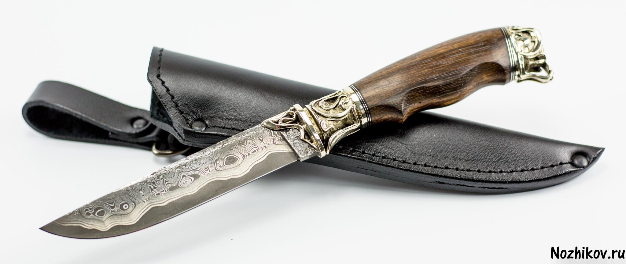 Нож Подарочный №52 из Ламината с никелем, от Приказчикова, коричн.