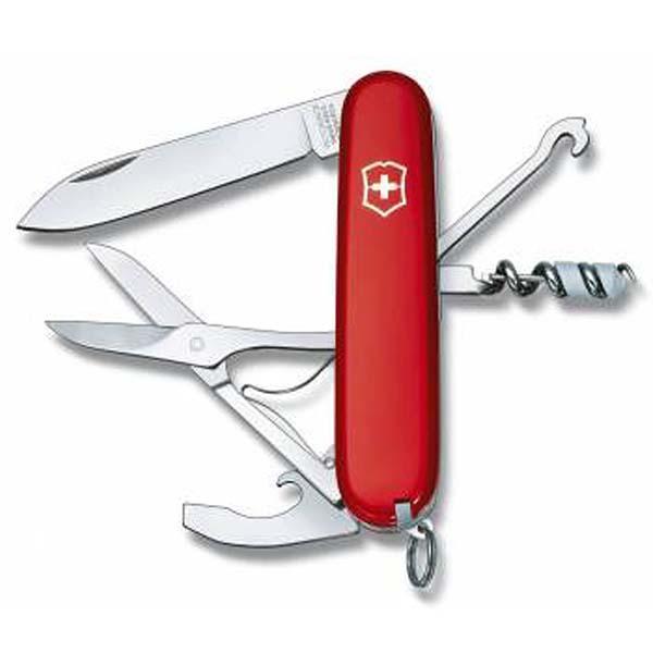 Швейцарский нож Victorinox CompactШвейцарские армейские ножи Victorinox<br>Швейцарский нож Victorinox Compact представляет собой инструмент со множеством функциональных возможностей. Он пригодится и туристу, и путешественнику, и вообще каждому человеку. Такой замечательный аксессуар позволит вам всегда иметь под рукой все самое необходимое. Изумительное качество швейцарского ножа викторинокс компакт позволит вам длительное время использовать его. Рукоять красного цвета украшена фирменной эмблемой. Благодаря такой яркой расцветке, вам будет легче отыскать свой складной нож.Покупайте швейцарский нож Victorinox Compact и вы всегда будете оснащены самыми необходимыми инструментами, которые иногда крайне необходимы.Набор инструментов:Универсальный инструмент с:– Консервным ножом;– Открывалкой для бутылок;– Инструментом для снятия изоляции;– Отверткой;Крючок многофункциональный с пилкой для ногтей;Большое лезвие;Миниатюрная отвертка;Штопор;Кольцо для ключей;Ножницы;Шариковая ручка;Пинцет;Зубочистка;Булавка;Длина: 9,1 см<br>