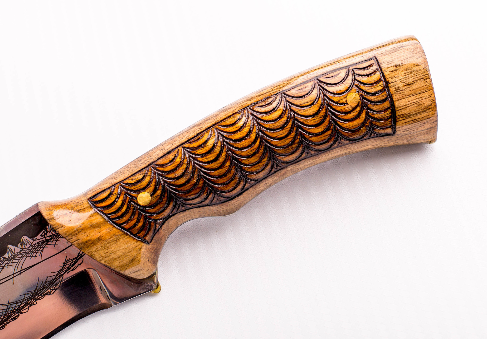 Фото 3 - Нож Морской Волк, резной, Кизляр СТО, сталь 65х13