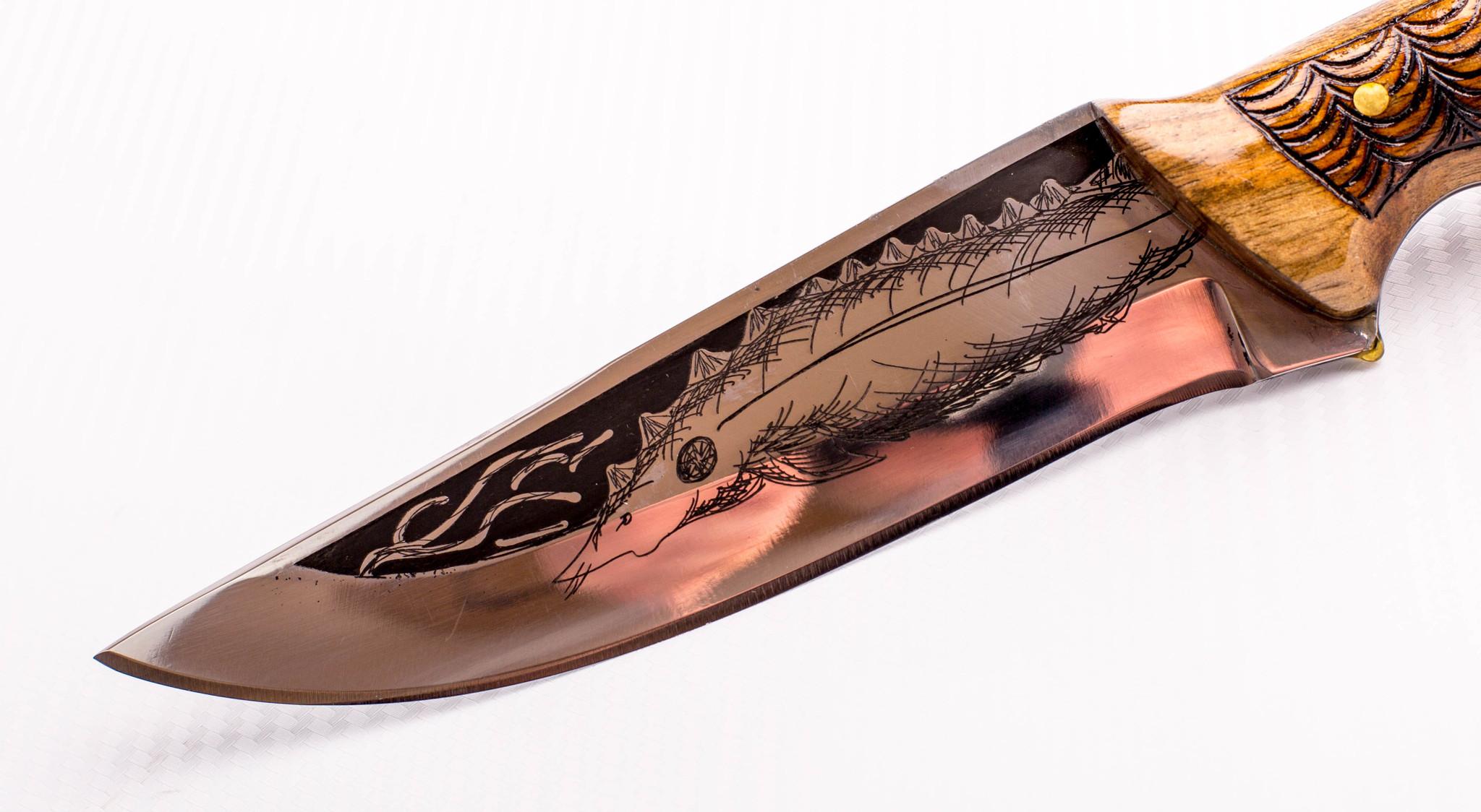Фото 4 - Нож Морской Волк, резной, Кизляр СТО, сталь 65х13