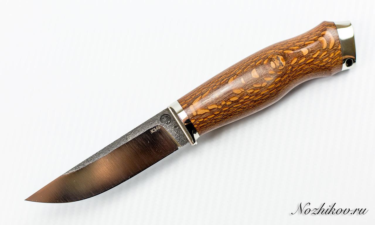 Нож Практичный №15 из кованой стали Bohler K340Ножи Павлово<br>Сталь: K340Рукоять: рукоять лайсвуд, литье мельхиорДлина клинка (мм.): 115 Наибольшая ширина клинка (мм.): 25 Толщина обуха клинка (мм.): 4 Толщина подвода (мм.): Твердость стали: 61-63Hrc Общая длина ножа (мм.): 235 Поверхность клинка: Сатин Спуски клинка: Прямые<br>