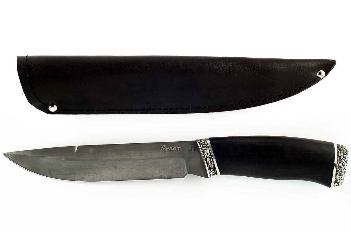 Нож булатный Скорпион-16Ножи Ворсма<br>Характеристики:Сталь: БулатОбщая длина, мм: 312Длина клинка, мм: 182Длина рукояти, мм: 130Толщина обуха, мм: 4,5Максимальная ширина клинка, мм: 34,2Вес, кг: 0,286Ножны: кожаТвёрдость клинка: HRC 62-64<br>Описание:Нож Скорпион сталь литой булат, материал рукояти граб с резным литьём из мельхиора. Популярная модель крупного ножа, предназначенная для выполнения грубых работ в походных условиях и разделки крупной туши зверя.<br>
