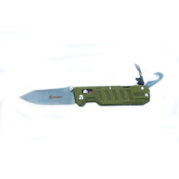 Нож Ganzo G735 зеленыйРаскладные ножи<br>Компания Ganzo презентовала мультифункциональный нож Ganzo G735 с расширенным набором инструментов, который ориентирован на спасателей и всех любителей экстремальных видов спорта и отдыха на природе. Впрочем, рыбакам и охотникам он тоже будет интересен.<br>Клинок ножа, как и другие инструменты, изготовлен из качественной нержавеющей стали с маркировкой 440С. Это нержавеющая сталь с высоким уровнем антикоррозийных свойств. Твердость закалки сплава составляет +-58HRC. Таким образом, эта сталь долго держит острую заточку режущей кромки и может использоваться в условиях повышенной влажности.<br>