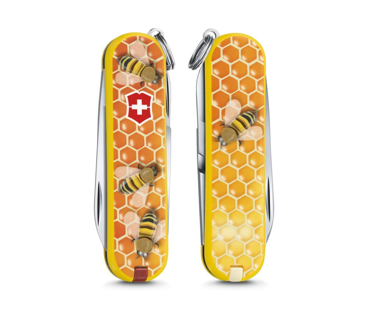 Складной нож Victorinox Classic limited edition 2017 Honey Bee (0.6223.L1702) 58мм 7функцийШвейцарские армейские ножи Victorinox<br>Материал: высококачественная нержавеющая стальРукоять: глянцевый нейлонВес: 26.1г.<br>ФУНКЦИИ:<br><br>лезвие<br>ножницы<br>пилочка для ногтей с<br>отверткой 2.5 мм<br>кольцо для подвеса<br>зубочистка<br>пинцет<br>