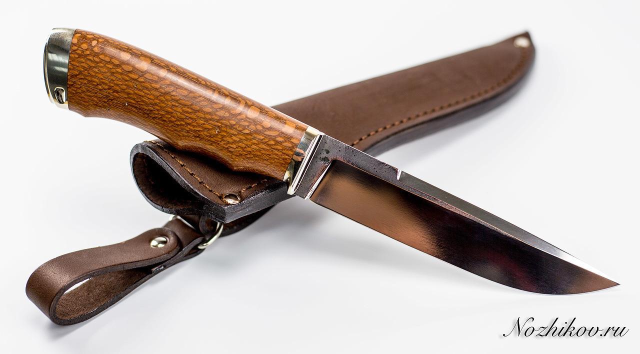 Нож Рабочий №16 из кованой стали Bohler K110Ножи Павлово<br>Сталь: K110Рукоять: рукоять лайсвуд, литье мельхиорДлина клинка (мм.): 145 Наибольшая ширина клинка (мм.): 29 Толщина обуха клинка (мм.): 3.3 Толщина подвода (мм.): 0,3-0,5 Твердость стали: 61-63Hrc Общая длина ножа (мм.): 275 Поверхность клинка: Сатин Спуски клинка: Прямые<br>