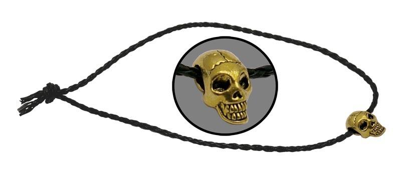 Темляк плетенный Череп золотойViking Nordway<br>Длина: 450 мм Диаметр: 3 мм Материал: кожа/металл<br>
