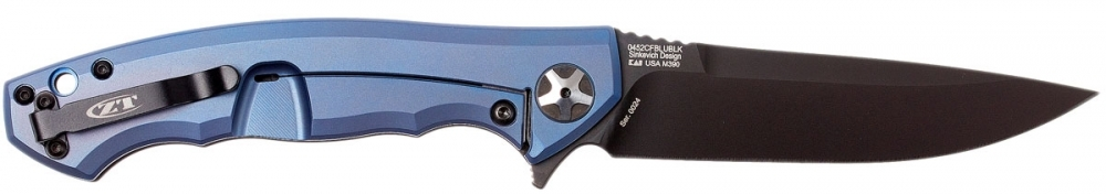 Нож складной Zero Tolerance K0452CFBLUBLK, сталь M390, титан/карбон
