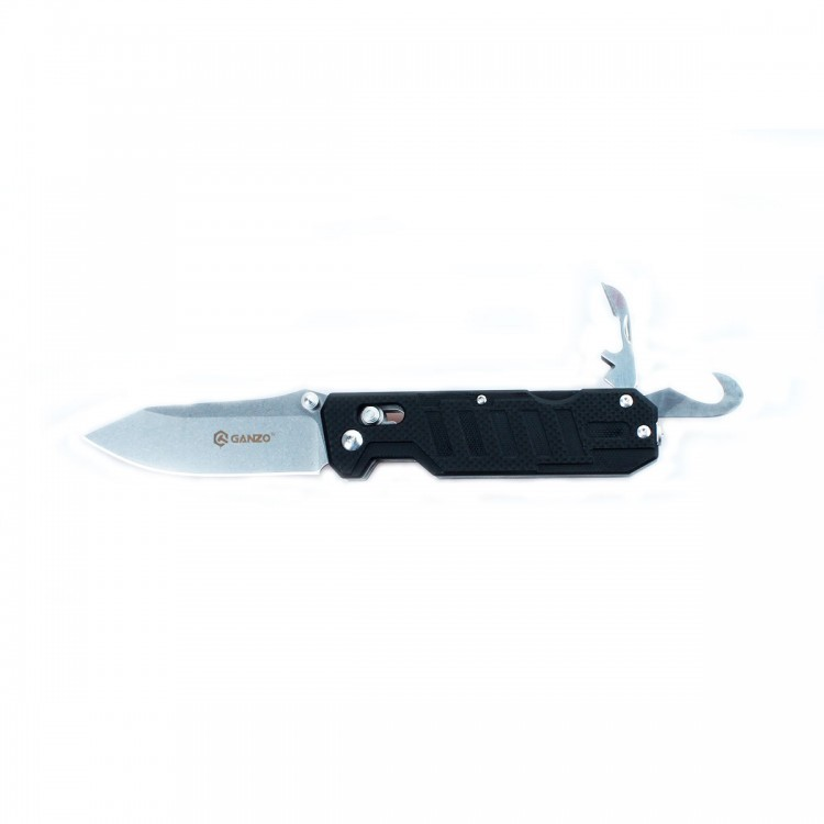 Нож Ganzo G735 черныйРаскладные ножи<br>Компания Ganzo презентовала мультифункциональный нож Ganzo G735 с расширенным набором инструментов, который ориентирован на спасателей и всех любителей экстремальных видов спорта и отдыха на природе. Впрочем, рыбакам и охотникам он тоже будет интересен.<br>Клинок ножа, как и другие инструменты, изготовлен из качественной нержавеющей стали с маркировкой 440С. Это нержавеющая сталь с высоким уровнем антикоррозийных свойств. Твердость закалки сплава составляет +-58HRC. Таким образом, эта сталь долго держит острую заточку режущей кромки и может использоваться в условиях повышенной влажности.<br>