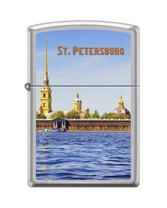 Зажигалка ZIPPO Петропавловская крепость, с покрытием Satin Chrome™