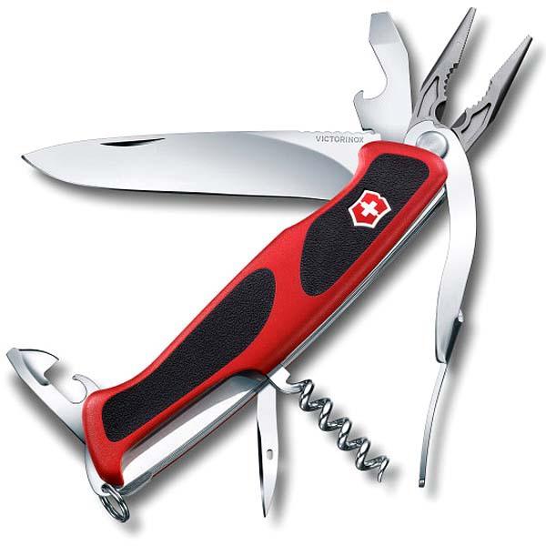 Швейцарский нож Victorinox RangerGrip, 14 функцийШвейцарские ножи Victorinox<br>Швейцарский нож Victorinox Military c фиксатором, 10 функций – настоящая находка для любителей активного отдыха! Легкий, компактный в использовании, нож Victorinox military поможет выжить в дикой природе и не даст пропасть в городских джунглях. Перочинный нож Victorinox имеет в наборе 10 инструментов на все случаи жизни. Механизм оснащен фиксатором лезвия.<br>Швейцарский нож Victorinox Military c фиксатором, 10 функций должен быть незаменимым атрибутом для каждого мужчины, чтобы с готовностью встречать непредвиденные ситуации и выходить победителем из них!<br>