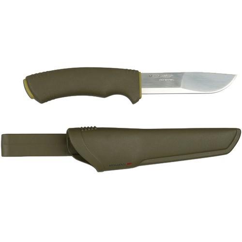 Нож Morakniv Bushcraft Forest, нержавеющая сталь, резиновая ручкаШведские ножи Mora<br>Mora BushCraft Forest — многоцелевой нож скандинавского типа известной торговой марки Mora of Sweden. Не является холодным оружием и не является предметом запрещенным к продаже на территории Российской Федерации.<br>