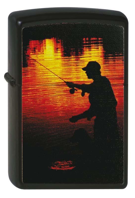 Зажигалка ZIPPO Рыбак, с покрытием Black Matte, латунь/сталь, чёрная, матовая, 36x12x56 мм зажигалка zippo slim® с покрытием black matte латунь сталь чёрная матовая 30x10x55 мм