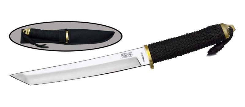 Нож HR4608-37Тактические ножи<br>Oбщая длина- 352 мм Длина клинка- 209 мм Толщина клинка- 3,8 мм Сталь- 440Рукоять- обмотка шнуром, латунь Чехол- кордура<br>