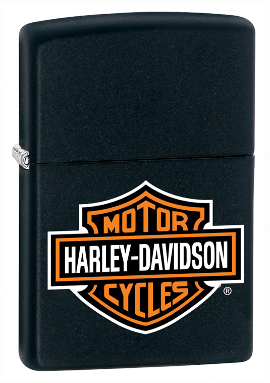 Зажигалка ZIPPO Harley Davidson, латунь с покрытием Black Matte, черный, матовая, 36x12x56 мм custom for harley motorcycle black cnc 1 25mm handlebar grips handle with clutch brake lever for harley davidson sportster dyna