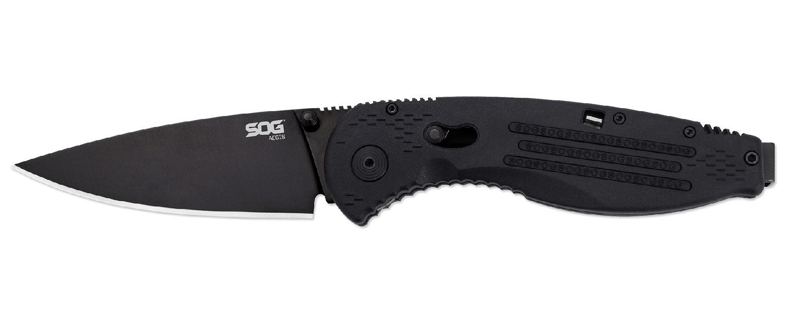 Фото 3 - Складной нож с фиксатором Aegis Black 8.9 см. - SOG AE02, сталь AUS-8, рукоять пластик GRN