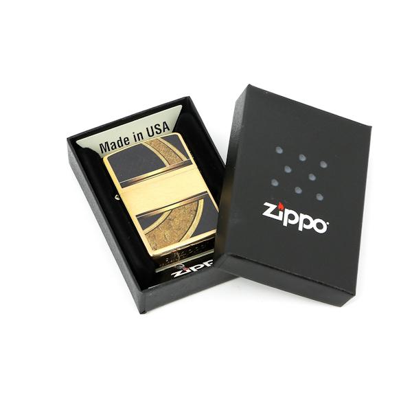 Фото 2 - Зажигалка ZIPPO Gold & Black, латунь с покрытием Brushed Brass, золотистая с орнаментом, 36х12x56 мм