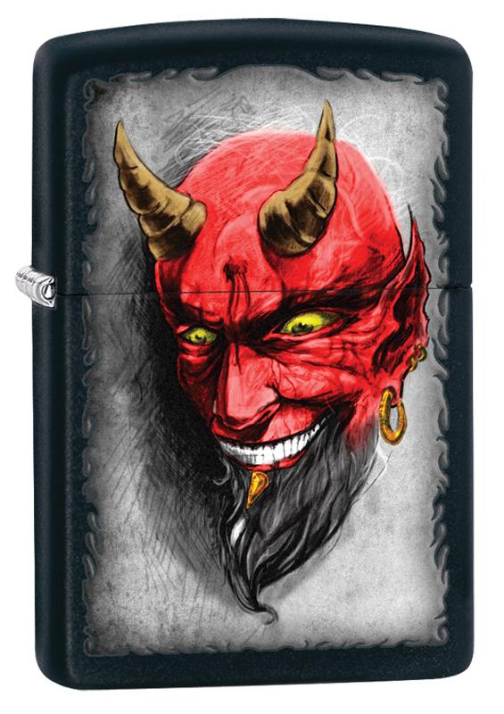 Зажигалка ZIPPO Classic Devil с покрытием Black Matte classic black