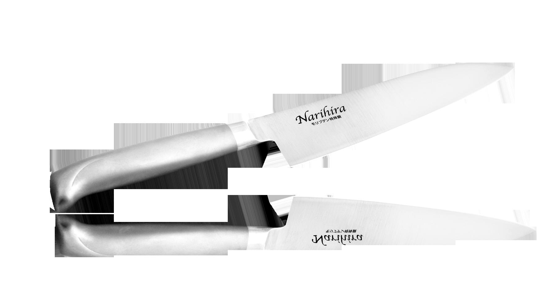 Нож Сантоку Narihira Tojiro, 180 мм, сталь AUS-8, стальная рукоятьНожи шефа (поварские ножи)<br>Нож Сантоку Narihira 180 мм, сталь AUS-8, стальная рукоять<br>