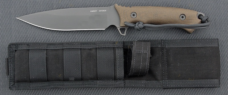 Нож с фиксированным клинком William Harsey Difensa (Black SpartaCoat/Green Micarta/Black Sheath) 15.9 см.