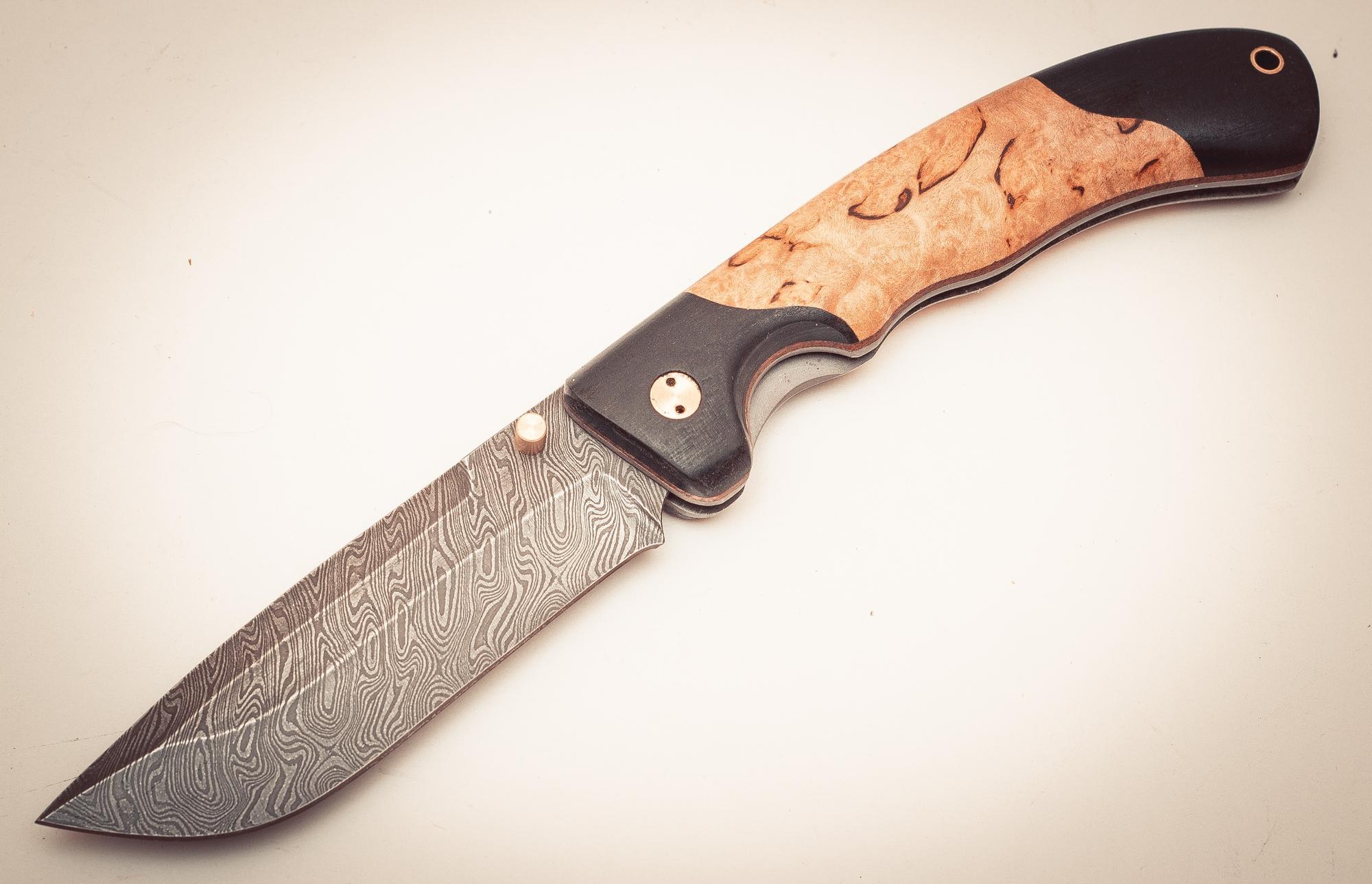 Фото 2 - Складной нож Половец, дамаск,  карельская береза от Марычев