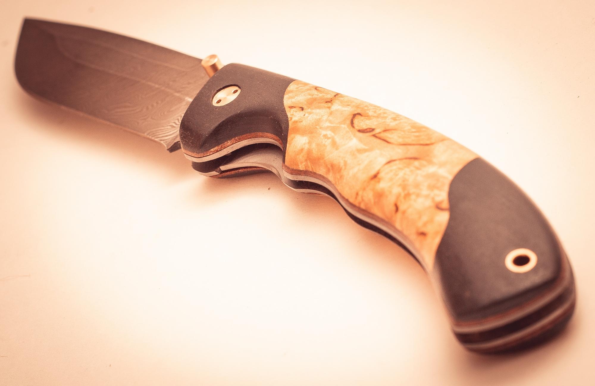 Складной нож Половец, дамаск,  карельская береза
