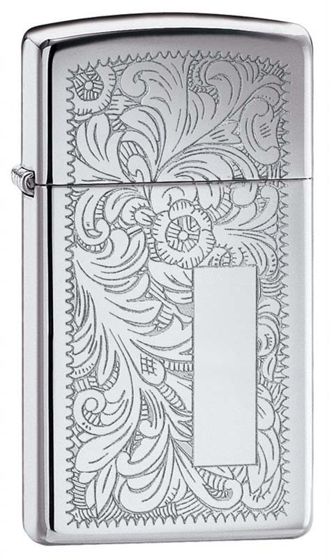 Зажигалка ZIPPO Slim® Venetian® с покрытием High Polish Chrome, латунь/сталь, 30x10x55 ммВоенному<br>Зажигалка ZIPPO Slim® Venetian® с покрытием High Polish Chrome, латунь/сталь, 30x10x55 мм<br>