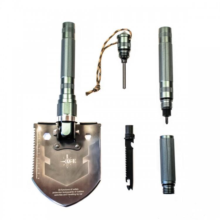 Многофункциональная лопата ACE А2Лопаты и лопатки<br>Лопата ACE — прекрасный выбор для автомобилистов, садоводов, туристов, любителей кемпинга и походов, так как может заменить собой сразу множество необходимых инструментов и приспособлений, которые могут понадобиться во время различных мероприятий на свежем воздухе.<br>Общая длина инструмента в собранном состоянии составляет 53,8см, ширина рабочего полотна — 12,8см. Черенок лопаты изготовлен из алюминиевого сплава, имеет цепкую не агрессивную накатку; сборные части плотно крепятся на резьбы, отмечается полное отсутствие люфтов. Материалом для лопаты служит высокоуглеродистая сталь, что позволяет добиться достойных эксплуатационных показателей.<br>Доступный инструментарий данной модели включает в себя ряд приспособлений, которые являются базовыми для портативной туристической лопаты и встречаются в остальных модификациях лопат ACE.<br>Инструментальная подборка включает в себя следующие орудия и приспособления:<br><br>мотыга<br>мультифункциональный нож-пила<br>топор<br>багор<br>весло<br>отвёртка<br>гвоздодёр<br>линейка<br>компас<br>кусачки<br>открывалка<br>консервный нож<br><br>На все изделия ACE прилагается пожизненная гарантия, позволяющая любому обладателю оригинального продукта, получить обоснованное обслуживание.<br>